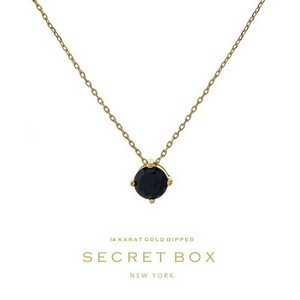 "Secret Box 14 karat gold dipped over brass necklace with a black rhinestone pendant. Approximately 16"" in length."