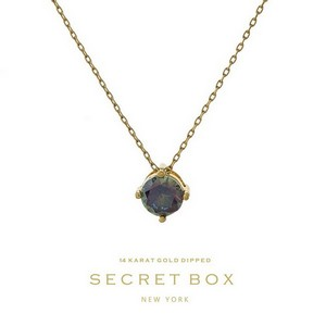 "Secret Box 14 karat gold dipped over brass necklace with a purple rhinestone pendant. Approximately 16"" in length."