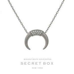 "Secret Box 24 karat white gold dipped over brass necklace with a horn pendant. Approximately 16"" in length."