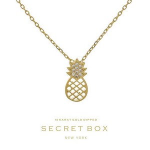 "Secret Box 14 Karat Gold Dipped over brass pineapple pendant necklace. 16"" in length."