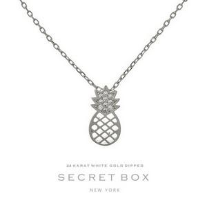 "Secret Box 24 Karat White Gold Dipped over brass pineapple pendant necklace. 16"" in length."
