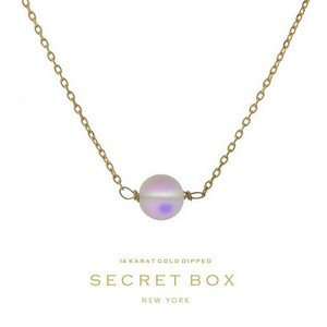 "Secret Box 14 karat gold dipped over brass necklace with an iridescent bead pendant. Approximately 16"" in length."