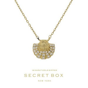 "Secret Box 14 Karat Gold over brass seashell pendant necklace. Approximately 16"" in length. Pendant size 13mm. Sold in gift box."