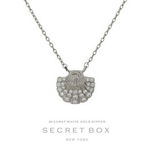 "Secret Box 24 Karat White Gold over brass seashell pendant necklace. Approximately 16"" in length. Pendant size 13mm. Sold in gift box."