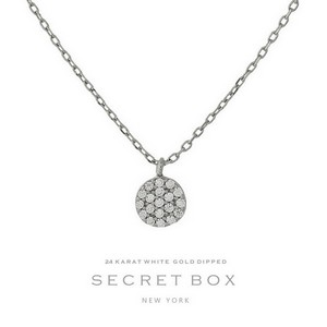 "Secret Box 24 Karat White Gold Dipped over brass circle pendant necklace. 16"" in length."