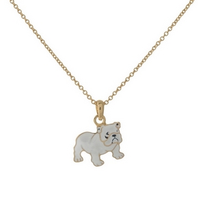 """Dainty gold tone necklace with a white bulldog pendant. Approximately 16"""" in length."""