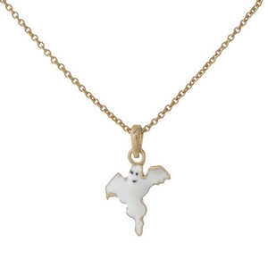 "Dainty gold tone necklace with a ghost pendant. Approximately 16"" in length."