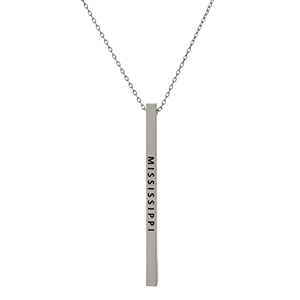 "Dainty silver tone necklace with a bar pendant, stamped with ""Mississippi."" Approximately 16"" in length."
