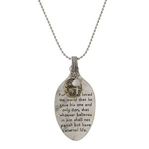 "Silver tone necklace with a spoon pendant, stamped with John 3:16. Approximately 28"" in length."