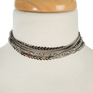 """Silver tone, multilayered choker necklace. Approximately 12"""" in length."""
