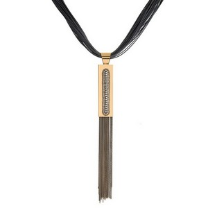 """Gray, faux leather 'Y' necklace with a gray chain tassel and gold tone accents. Approximately 16"""" in length."""