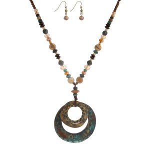 """Brown and topaz beaded necklace with a patina, open circle pendant and matching fishhook earrings. Approximately 16"""" in length."""