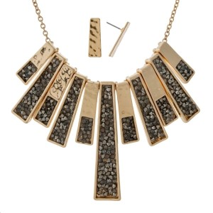 """Metal necklace set with crushed rhinestone, fringe pendants and matching fishhook earrings. Approximately 18"""" in length."""