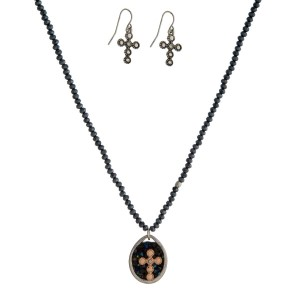 """Beaded necklace set with a reversible, rhinestone cross pendant and matching fishhook earrings. Approximately 18"""" in length."""