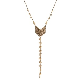 "Burnished gold tone necklace with an arrow pendant, beaded accents, and a chain tassel. Approximately 28"" in length."