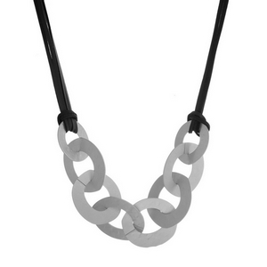 "Faux leather cord necklace with hammered interlocking circles. Approximately 24"" in length."