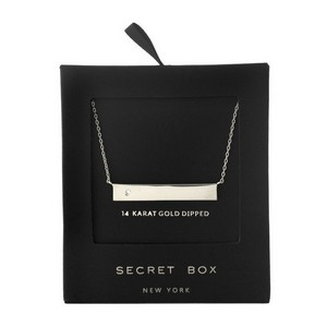 """Secret Box 24 karat white gold over brass bar pendant necklace with a clear rhinestone accent. Approximately 16"""" in length."""