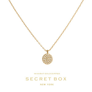 "Secret Box 14 karat gold over brass pave circle pendant necklace. Approximately 16"" in length."