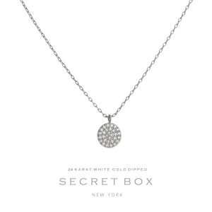 "Secret Box 24 karat white gold over brass pave circle pendant necklace. Approximately 16"" in length."