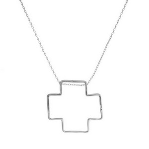 "Dainty metal necklace with an open cross shaped pendant. Approximately 28"" in length."