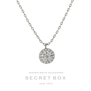 """Secret Box 24 karat white gold over brass clear rhinestone circle pendant necklace. Approximately 16"""" in length. Sold in gift box."""