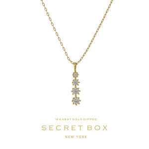 """Secret Box 14 karat gold over brass three rhinestone pendant necklace. Approximately 16"""" in length. Sold in gift box."""
