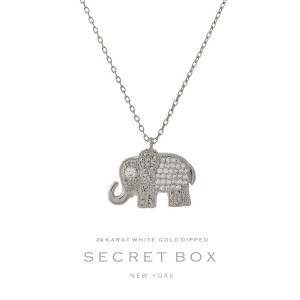 """Secret Box 24 karat white gold over brass elephant pendant necklace. Approximately 16"""" in length. Sold in gift box."""