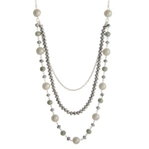 """Long layered necklace with three pearl and faceted bead layers. Approximately 32"""" to 40"""" in length."""