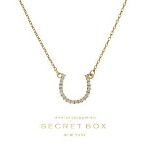 """Secret Box 14 karat gold over brass horseshoe pendant necklace. Approximately 16"""" in length. Sold in gift box."""