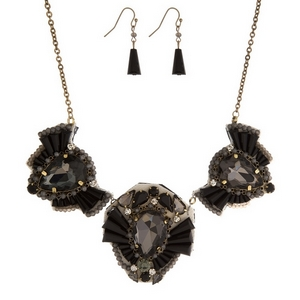 """Gold tone, statement necklace set with three leather-backed, rhinestone clusters. Approximately 16"""" in length."""