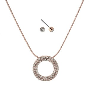 """Dainty necklace set with a circle pendant and pave rhinestones. Approximately 16"""" in length."""