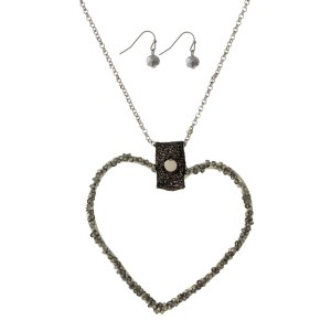 """Metal, necklace set with a heart shaped pendant and matching fishhook earrings. Approximately 32"""" in length."""