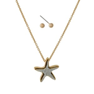 "Dainty necklace set with a faux druzy, starfish pendant and matching stud earrings. Approximately 16"" in length."