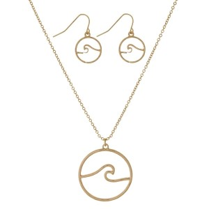 "Dainty, necklace set with a wave pendant and matching fishhook earrings. Approximately 16"" in length."
