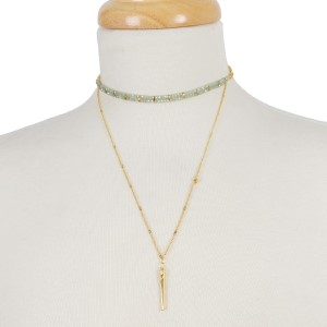 """Dainty gold tone, two layer choker necklace with beaded accents. Approximately 12"""" and 16"""" in length."""