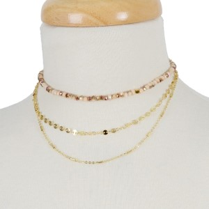"""Dainty, three row choker necklace with beaded and circle disc accents. Approximately 12"""" to 14"""" in length."""