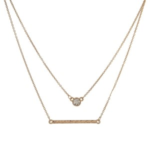 """Dainty, two layer necklace with a clear rhinestone and bar pendant. Approximately 14"""" and 16"""" in length."""
