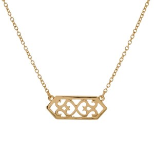 """Dainty, metal necklace with a filigree pendant. Approximately 16"""" in length."""