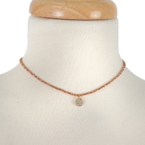 """Dainty, full beaded choker with a pave circle pendant. Approximately 12"""" in length."""