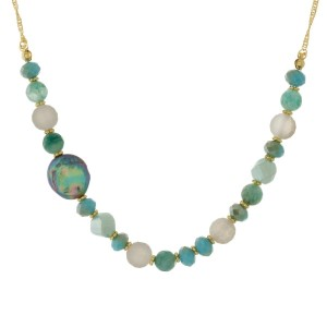 "Gold tone necklace with natural stone and glass beaded with a freshwater pearl bead accent. Approximately 16"" in length."