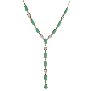 """Burnished gold tone necklace with epoxy stones and clear rhinestones. Adjustable up to 28"""" in length."""