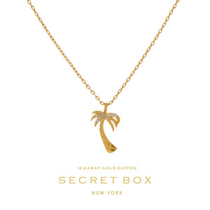 "Secret Box 14 karat gold over brass, palm tree pendant necklace. Approximately 16"" length."