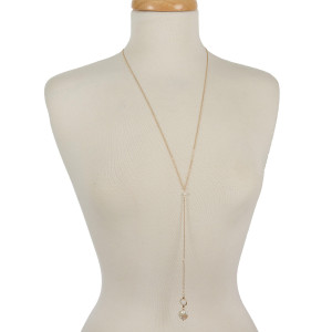 "Dainty Y necklace with freshwater pearl beads. Approximately 26"" in length."