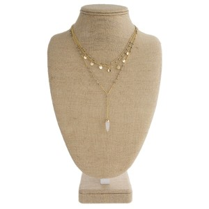 """Gold tone layered necklace with faceted beads and natural stone. Approximately 20"""" in length."""