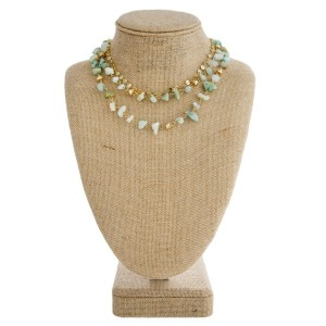 """Short layered necklace with natural stone and flat gold beads. Approximately 16"""" in length."""