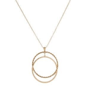 """Long, metal necklace with interlocking circle pendant. Approximately 30"""" in length."""