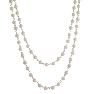 """Long, 60"""" pearl beaded wrap necklace."""