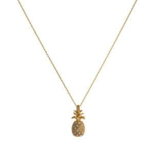 "Dainty necklace with rhinestone accented pineapple charm. Approximately 16"" in length."