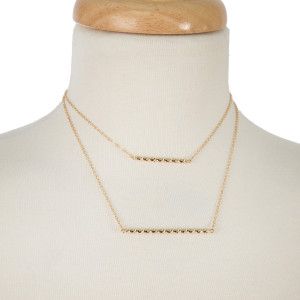 """Dainty, two layer necklace with a bar pendant. Approximately 14"""" and 16"""" in length."""