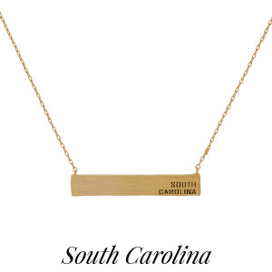 "Dainty necklace with a bar pendant, stamped with each state. Approximately 16"" in length."